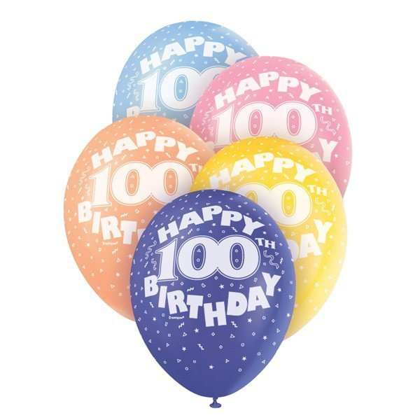 Unique Party 12 Inch Assorted Latex Balloon - 100th