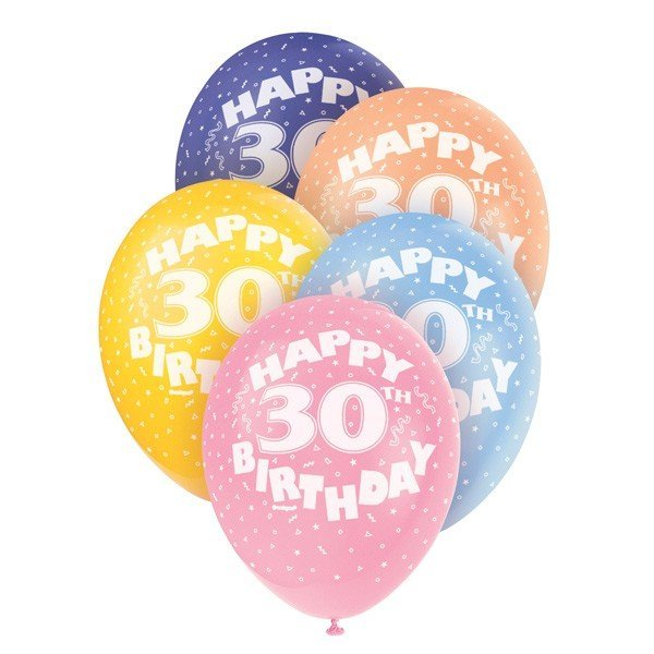 Unique Party 12 Inch Assorted Latex Balloon - 30th