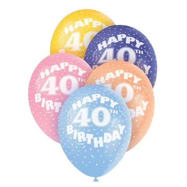 Unique Party 12 Inch Assorted Latex Balloon - 40th