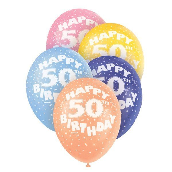 Unique Party 12 Inch Assorted Latex Balloon - 50th