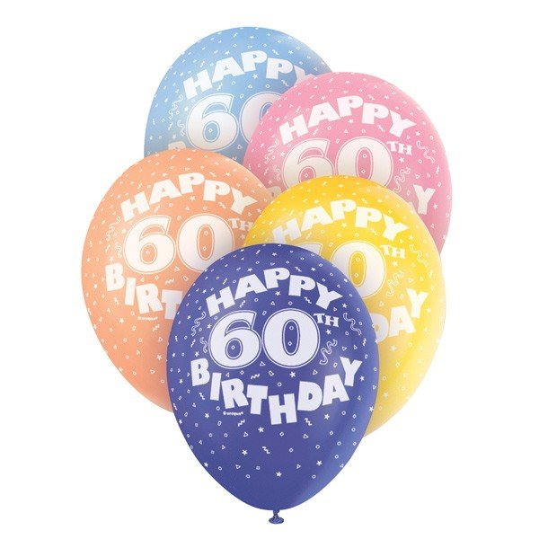 Unique Party 12 Inch Assorted Latex Balloon - 60th