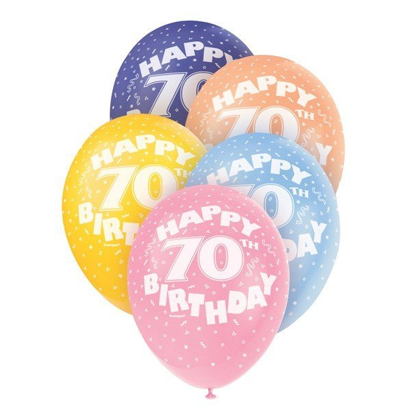 Unique Party 12 Inch Assorted Latex Balloon - 70th