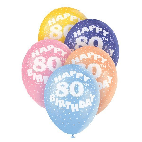 Unique Party 12 Inch Assorted Latex Balloon - 80th