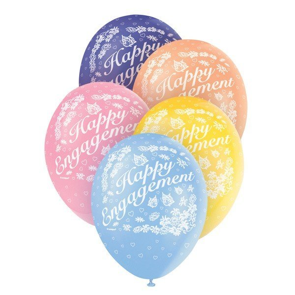 Unique Party 12 Inch Assorted Latex Balloon - Engagement