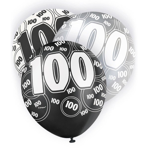 Unique Party 12 Inch Latex Balloon - 100 Black