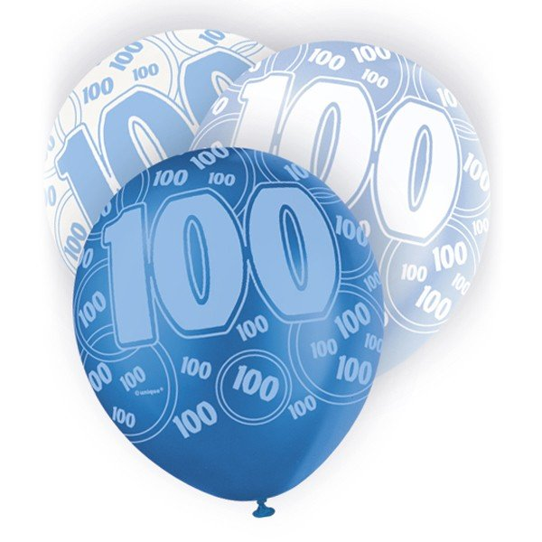 Unique Party 12 Inch Latex Balloon - 100 Blue