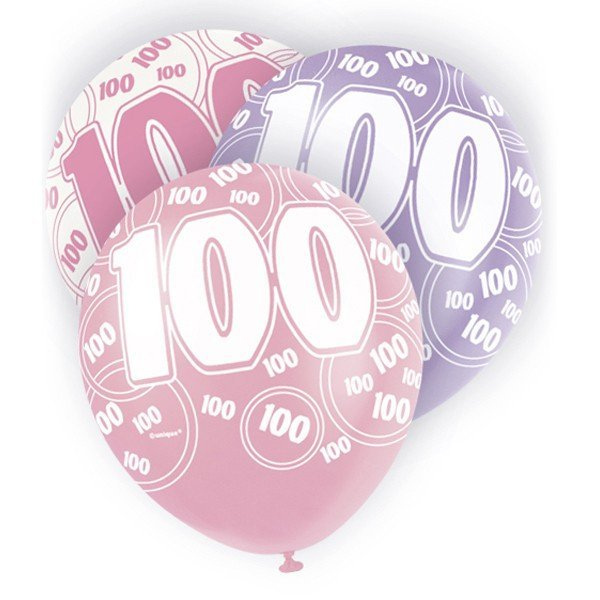 Unique Party 12 Inch Latex Balloon - 100 Pink