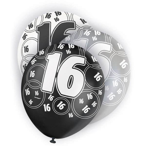 Unique Party 12 Inch Latex Balloon - 16 Black