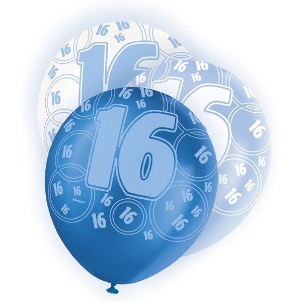 Unique Party 12 Inch Latex Balloon - 16 Blue