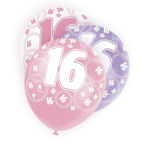 Unique Party 12 Inch Latex Balloon - 16 Pink