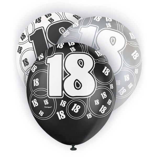 Unique Party 12 Inch Latex Balloon - 18 Black