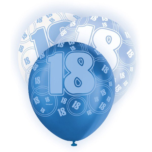 Unique Party 12 Inch Latex Balloon - 18 Blue