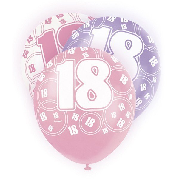 Unique Party 12 Inch Latex Balloon - 18 Pink