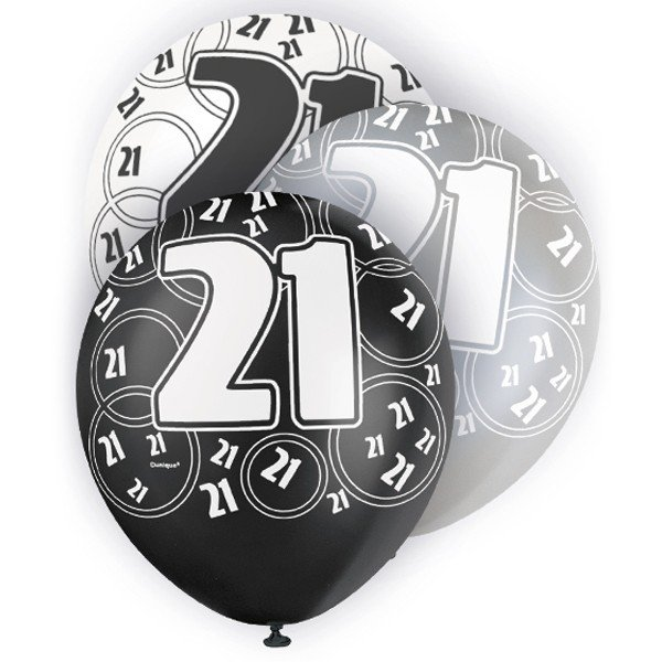 Unique Party 12 Inch Latex Balloon - 21 Black