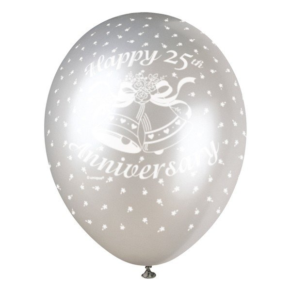 Unique Party 12 Inch Latex Balloon - 25th Anniversary
