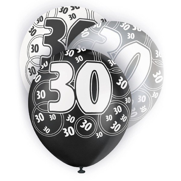 Unique Party 12 Inch Latex Balloon - 30 Black