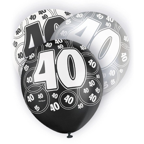 Unique Party 12 Inch Latex Balloon - 40 Black