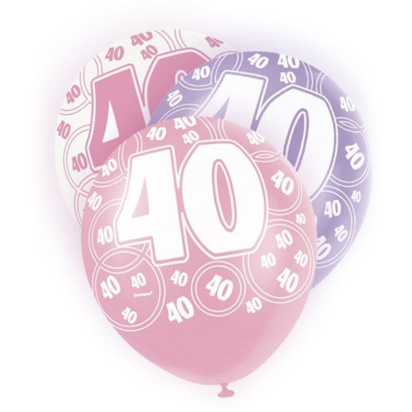 Unique Party 12 Inch Latex Balloon - 40 Pink