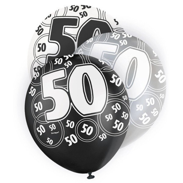 Unique Party 12 Inch Latex Balloon - 50 Black