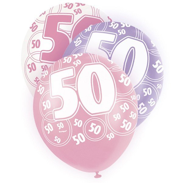 Unique Party 12 Inch Latex Balloon - 50 Pink