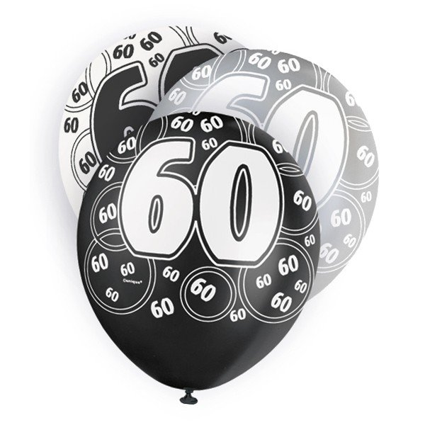 Unique Party 12 Inch Latex Balloon - 60 Black