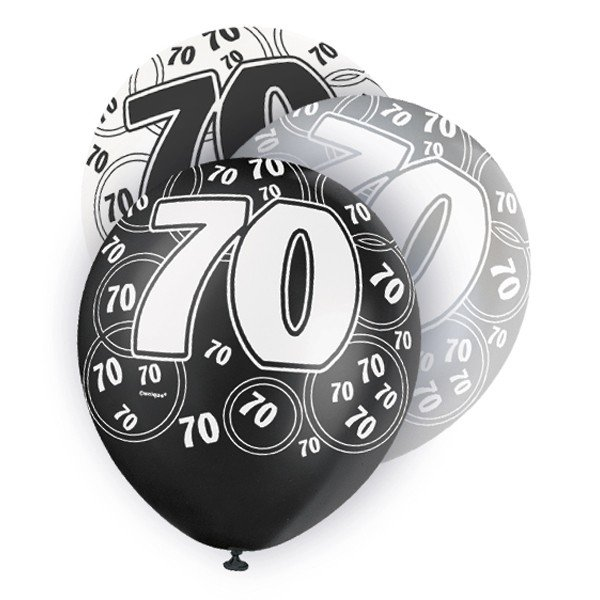 Unique Party 12 Inch Latex Balloon - 70 Black