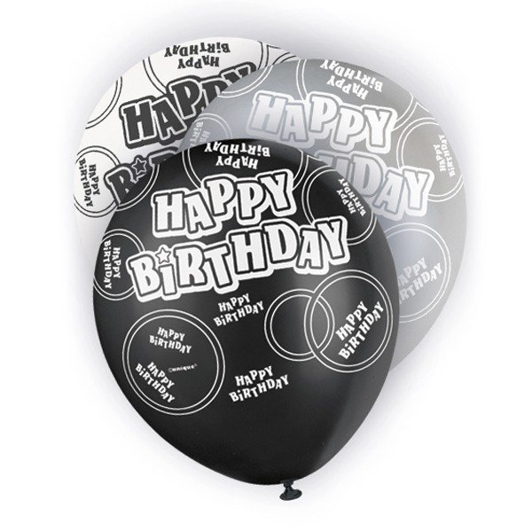 Unique Party 12 Inch Latex Balloon - Birthday Black
