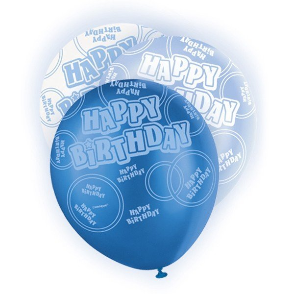 Unique Party 12 Inch Latex Balloon - Birthday Blue
