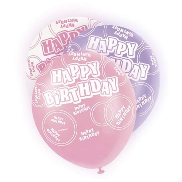 Unique Party 12 Inch Latex Balloon - Birthday Pink