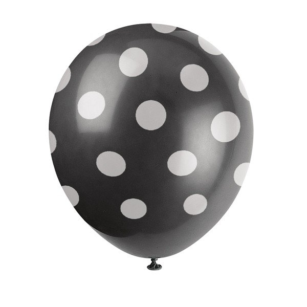 Unique Party 12 Inch Latex Balloon - Black Dots