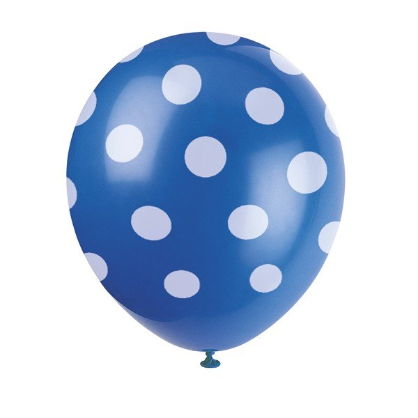 Unique Party 12 Inch Latex Balloon - Blue Dots