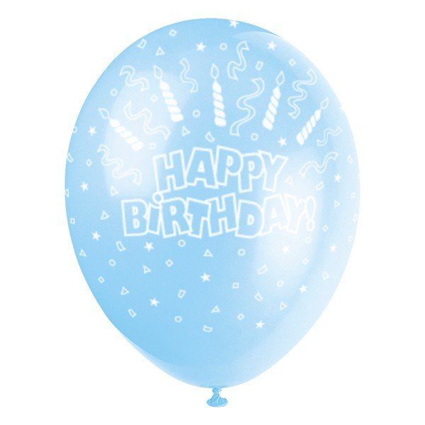 Unique Party 12 Inch Latex Balloon - Candles Blue