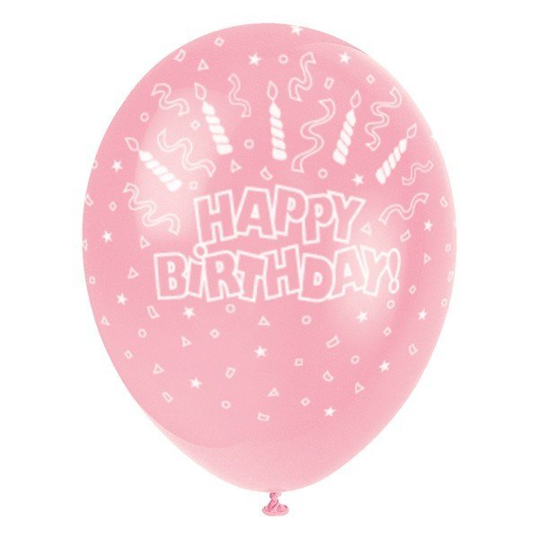 Unique Party 12 Inch Latex Balloon - Candles Pink
