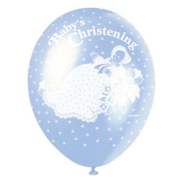 Unique Party 12 Inch Latex Balloon - Christening Blue