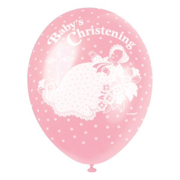 Unique Party 12 Inch Latex Balloon - Christening Pink