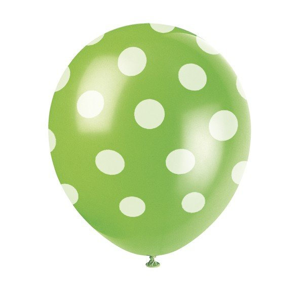 Unique Party 12 Inch Latex Balloon - Green Dots