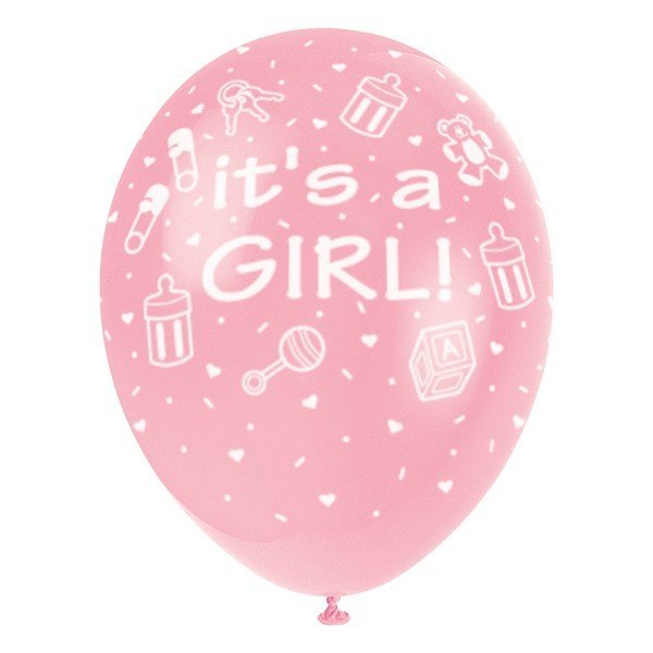 Unique Party 12 Inch Latex Balloon - Its A Girl Pink