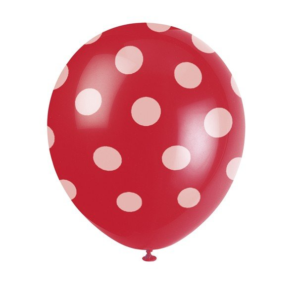 Unique Party 12 Inch Latex Balloon - Red Dots