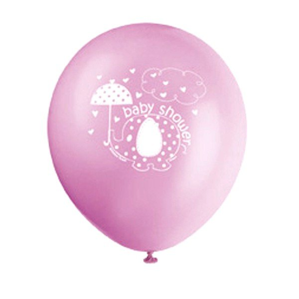 Unique Party 12 Inch Latex Balloon - Umbrellaphants Pink