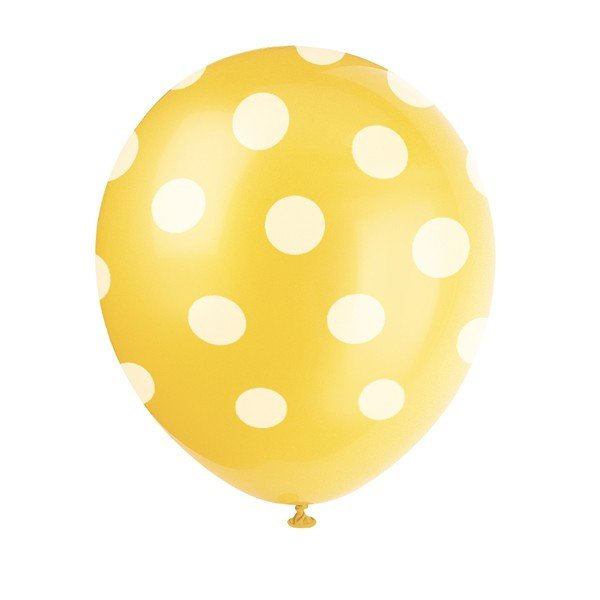 Unique Party 12 Inch Latex Balloon - Yellow Dots
