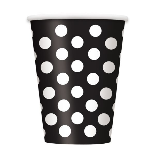 Unique Party 12oz Cups - Black Dots