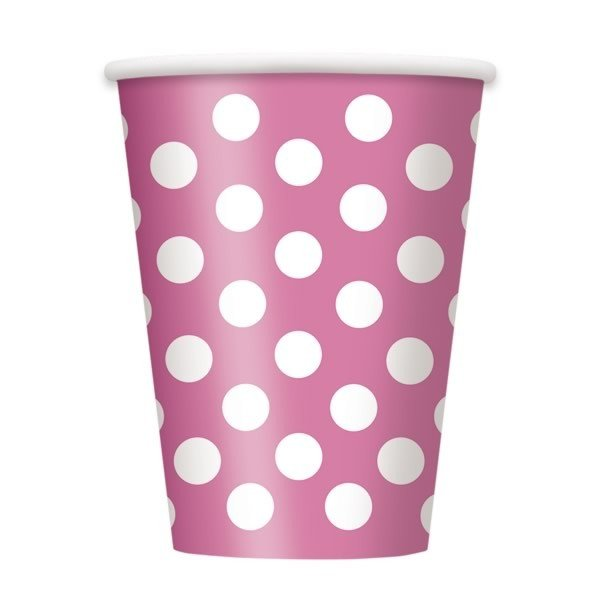 Unique Party 12oz Cups - Hot Pink Dots
