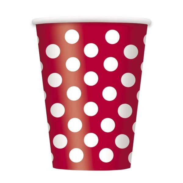 Unique Party 12oz Cups - Ruby Red Dots