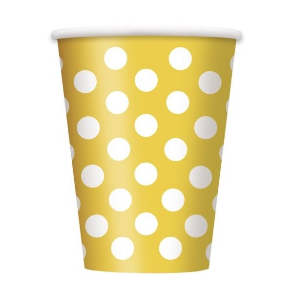 Unique Party 12oz Cups - Yellow Dots