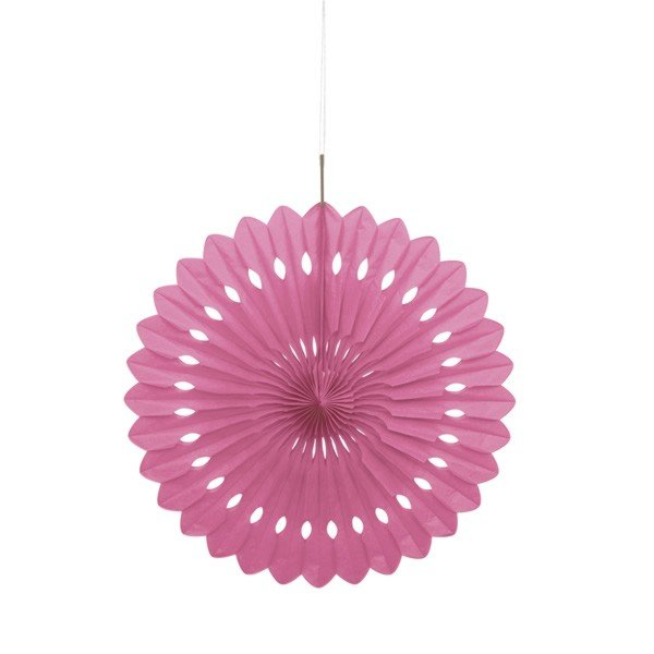 Unique Party 16 Inch Decorative Fans - Hot Pink