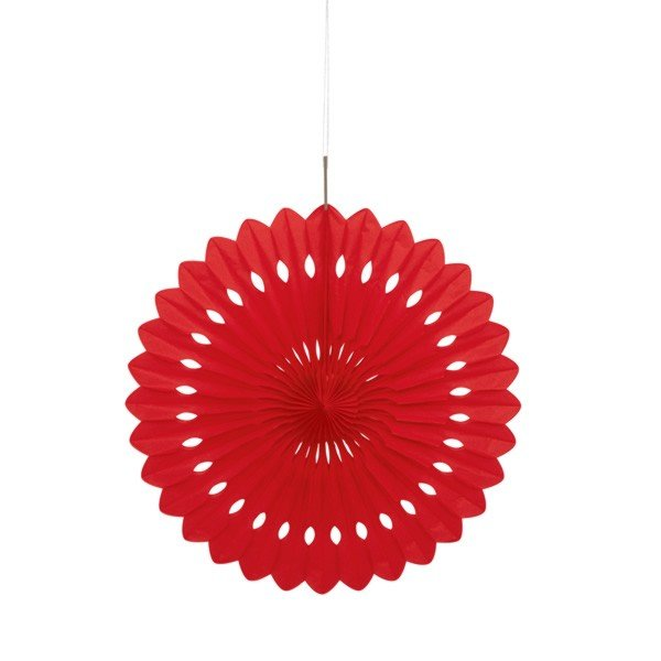 Unique Party 16 Inch Decorative Fans - Red
