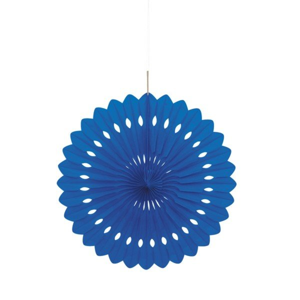 Unique Party 16 Inch Decorative Fans - Royal Blue