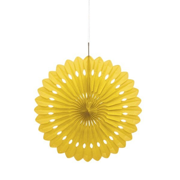 Unique Party 16 Inch Decorative Fans - Yellow