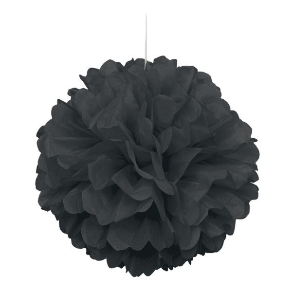 Unique Party 16 Inch Puff Balls - Black