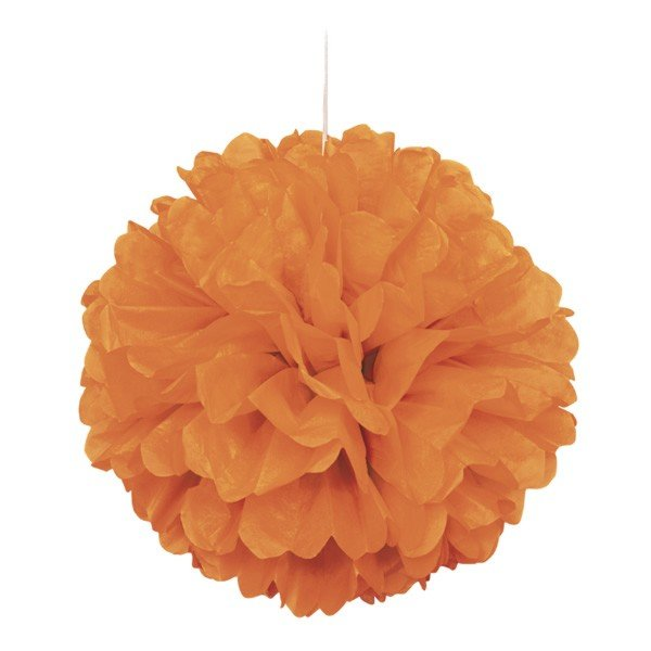 Unique Party 16 Inch Puff Balls - Orange